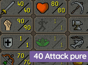 OSRS 40 Attack Pure/ 90 Str/ 70 rng